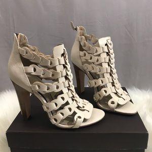 Elie Tahari Intreccio Leather Caged Sandals